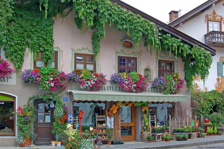 Façade du lufltmalerei fleuristerie à Oberammergau
