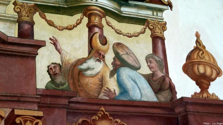 Lüftlmalerei pretres demandant la condamnation du christ à Oberammergau