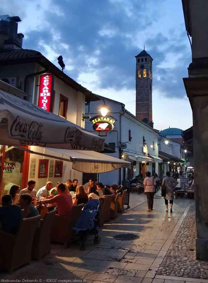 Rue du vieux Sarajevo Bascarsija lors du ramadan