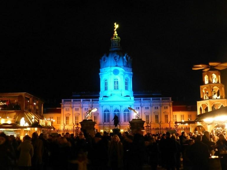 Marché de Noël de Charlottenburg à Berlin de nuit