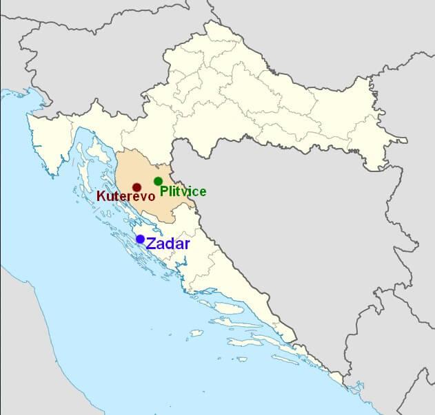 carte du refuge de Kuterevo en Croatie