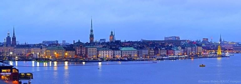 panorama sur stockholm à noel au coucher du soleil