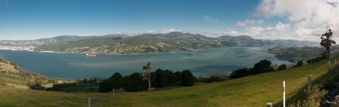 Dunedin, Otago, Nouvelle-Zélande : vue sur Dunedin depuis la péninsule Otago