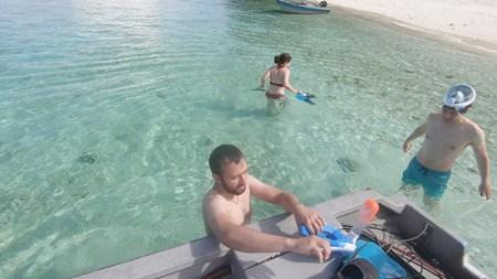 A la descente du bateau, départ pour le snorkeling