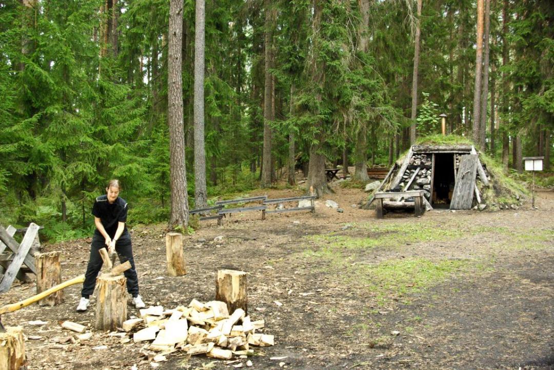 coupe du bois pour chauffer cet hébergement insolite