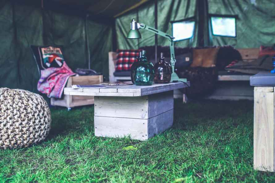 interior of military tent wooden table