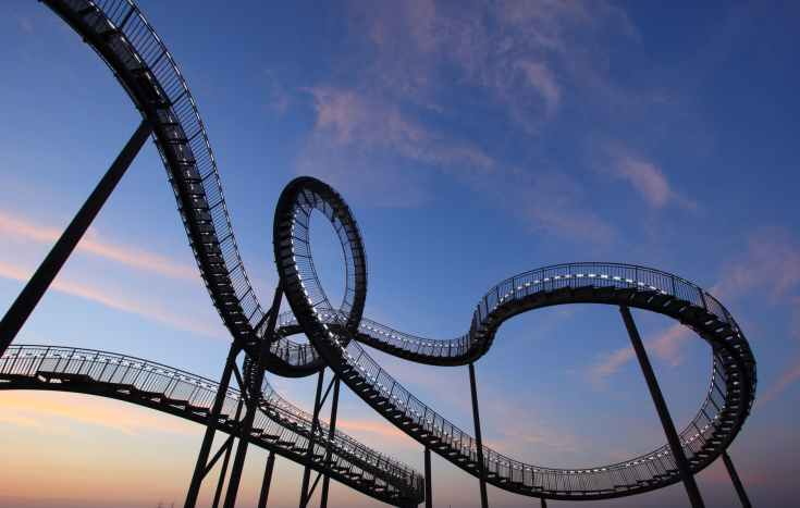 black and white roller coaster