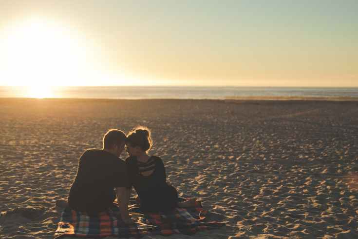 sunset beach couple love
