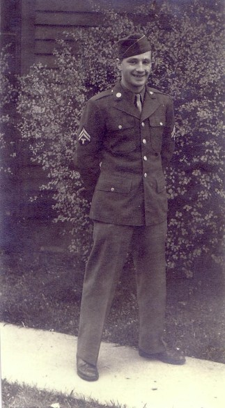 Bruce Reno of Detroit, 1922-2006. 65th Division, 565th Signal Corps, WWII. Served in France, Germany and Austria. Courtesy of Ruth Held.