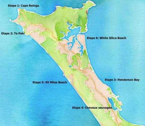 Carte de la péninsule de Aupouri