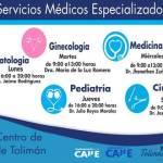 A partir del próximo 27 de este mes inician las atenciones médicas con especialistas en Tolimán