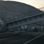 Cae puente peatonal sobre la Querétaro-San Luis, daña 2 tráileres y ocasiona carambola
