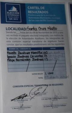 Cartel de resultados de elección de delegado en Santa Cruz Nieto