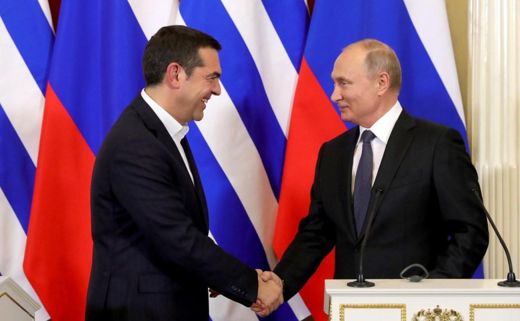 Alexis Tsipras y Vladimir Putin en Moscú, diciembre de 2018