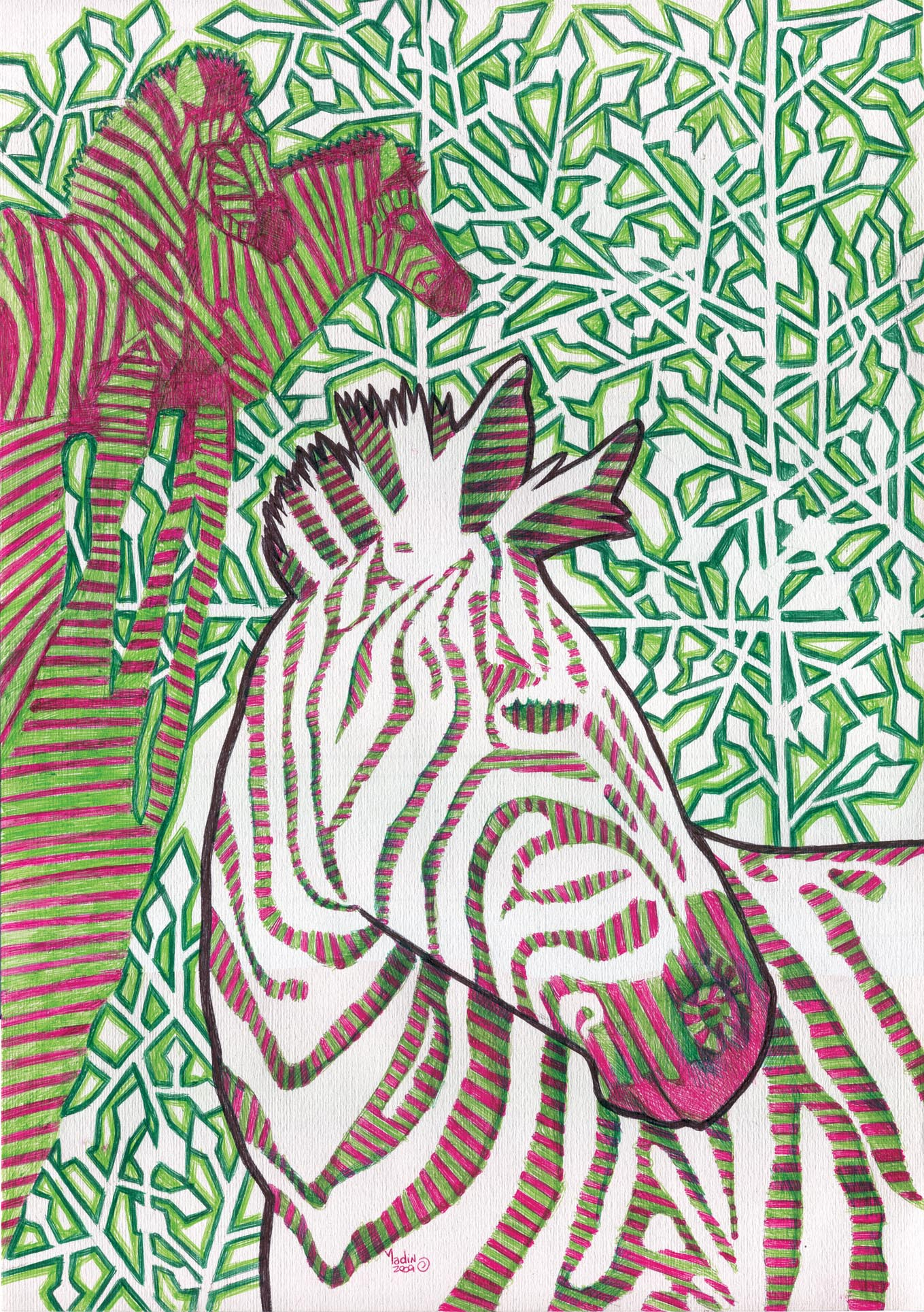 ballpoint pen art - zebras