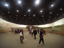 in a round room.