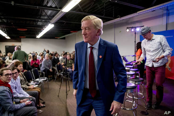 Republican presidential candidate former Massachusetts Gov. Bill Weld steps off stage after speaking at a the Faith, Politics…