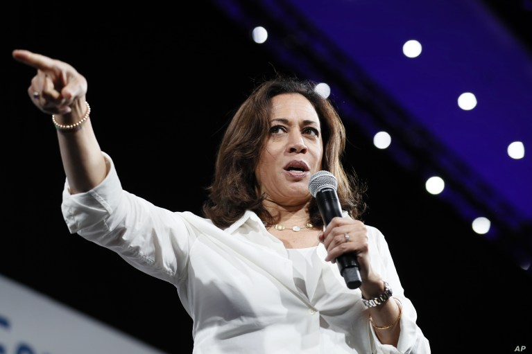 Democratic presidential candidate Sen. Kamala Harris speaks at the Presidential Gun Sense Forum, Aug. 10, 2019, in Des Moines, Iowa.