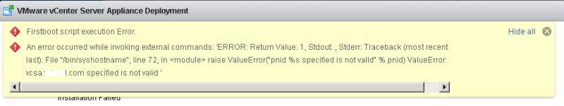 vCSA Deployment error