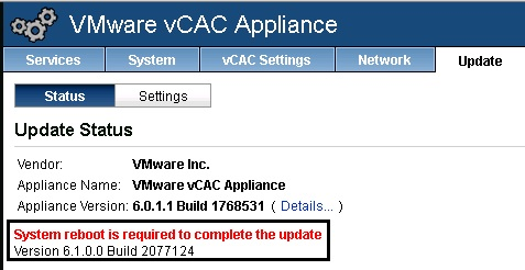 vCAC 6.0.1 to 6.1 upgrade 07