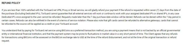 refund policy of torguard