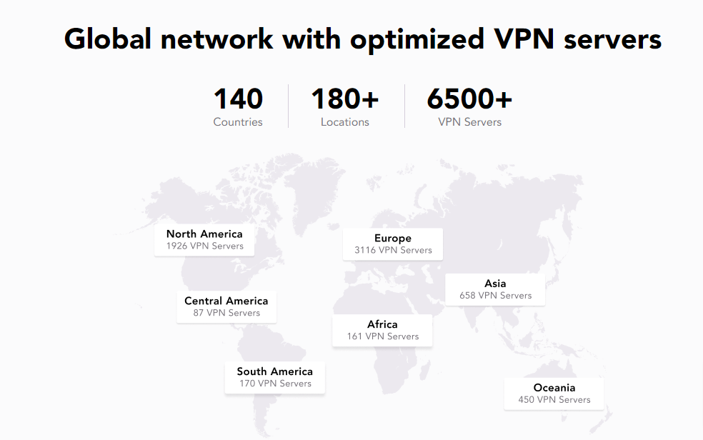 Global network with optimized VPN servers