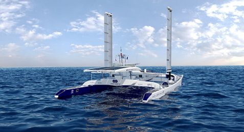 Hydrogen powered Energy Observer fitted with wingsail technology