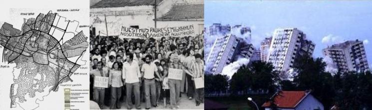 Imágenes sobre rehabilitación urbana: 1. Plan Regulador General de 1985 de Bolonia. 2 Movilizaciones ciudadanas en Madrid. 3 Demolición de Les Minguettes (Vénissieux)