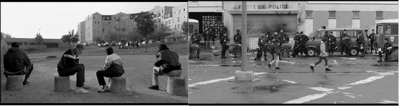 Fotogramas de 'La heine' 1995  Mathieu Kassovitz. Fuente: La última butaca. https://laultimabutacaucm.wordpress.com/2013/12/04/toma-5-la-haine/