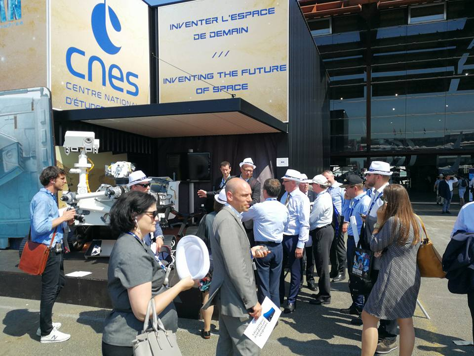 Vue du pavillon du CNES lors du Salon International de l'Aéronautique et de l'Espace 2017 (Le Bourget)