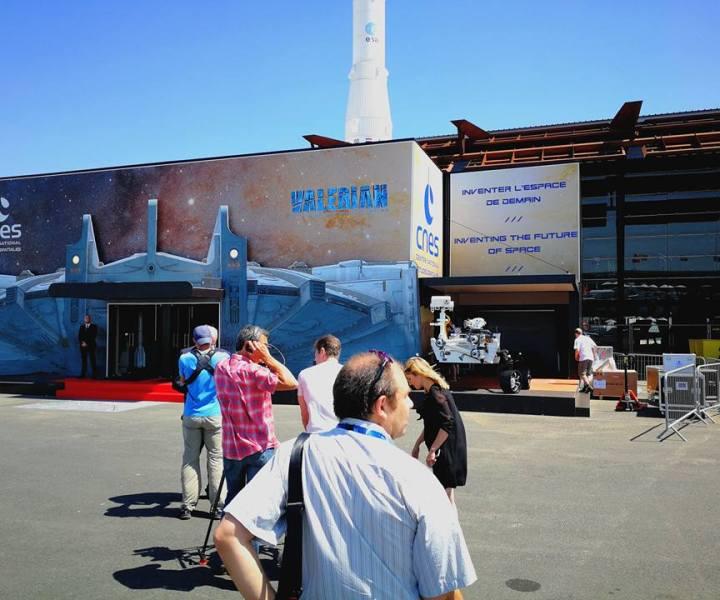 Entrée du pavillon du CNES lors du Salon International de l'Aéronautique et de l'Espace 2017 (Le Bourget)