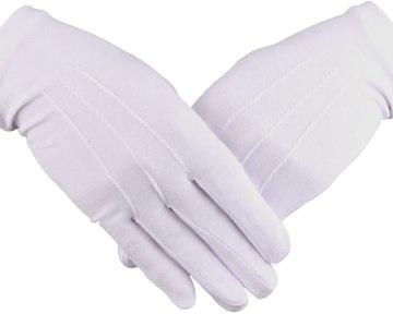 Handschoenen katoen wit gala gentleman Dutch nederlandse regalia maçonniek Vrijmetselarij Vrijmetselaarswinkel Loge Benelux
