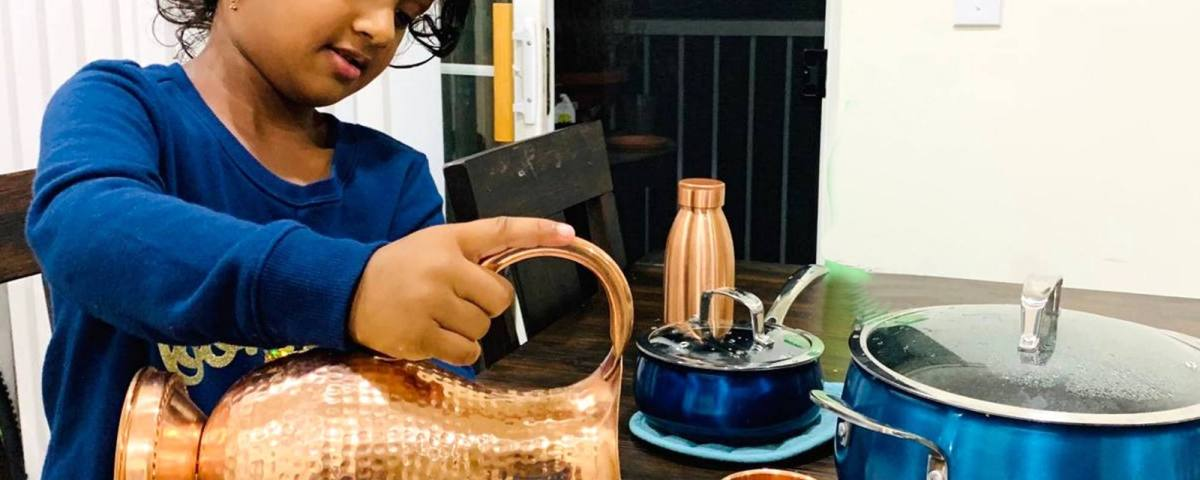 Hammered Copper Pitcher in use