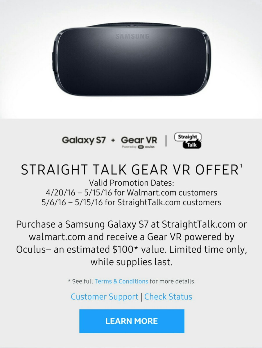 Straight Talk Offering Free Samsung Gear VR Headsets for Walmart.com and StraightTalk.com Purchases