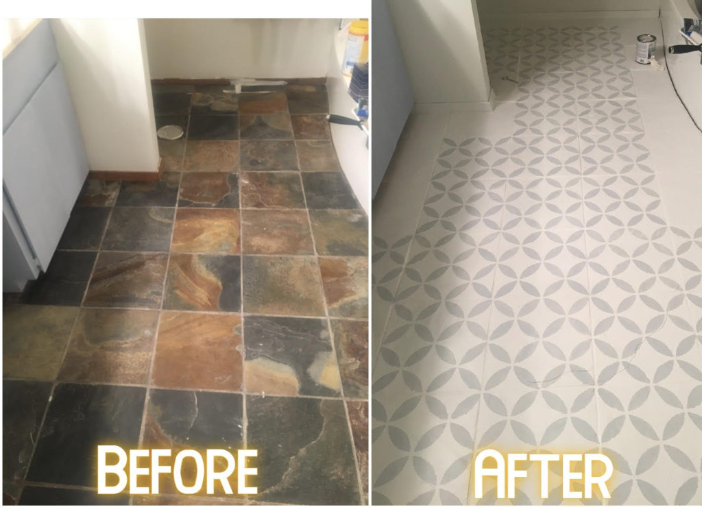 diy tile stencil on bathroom floor