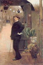 Santiago Rusinol - Miguel Utrillo in de tuin van Moulin de la Galette 1890