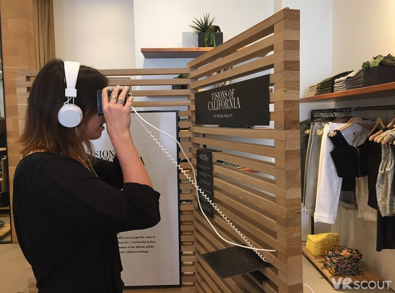 VRScout's Tessa checking out the 7 For All Mankind and Jaunt retail experience
