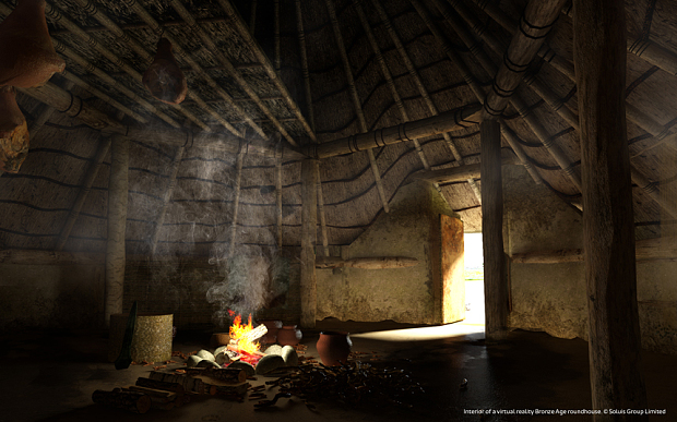 Interior of a virtual reality Bronze Age roundhouse