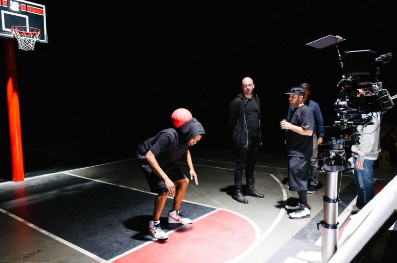 "On set during VR film shoot of ""CourtVision."""