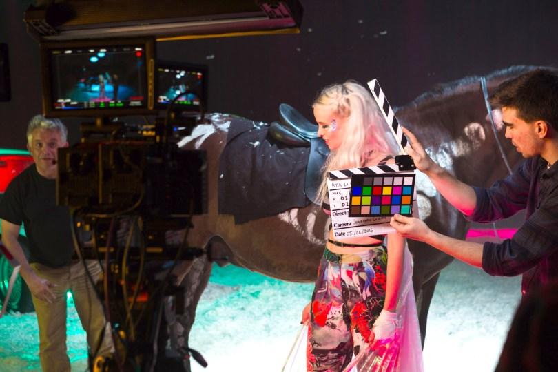On set Kyla La Grange for 360-degree shoot.