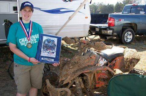 Jennifer Britts with racing trophy