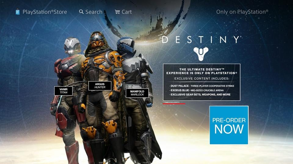Although Destiny is coming to multiple platforms, the game will have in-game bonuses only available on the PS4 thanks to Sony's deal with Activision.