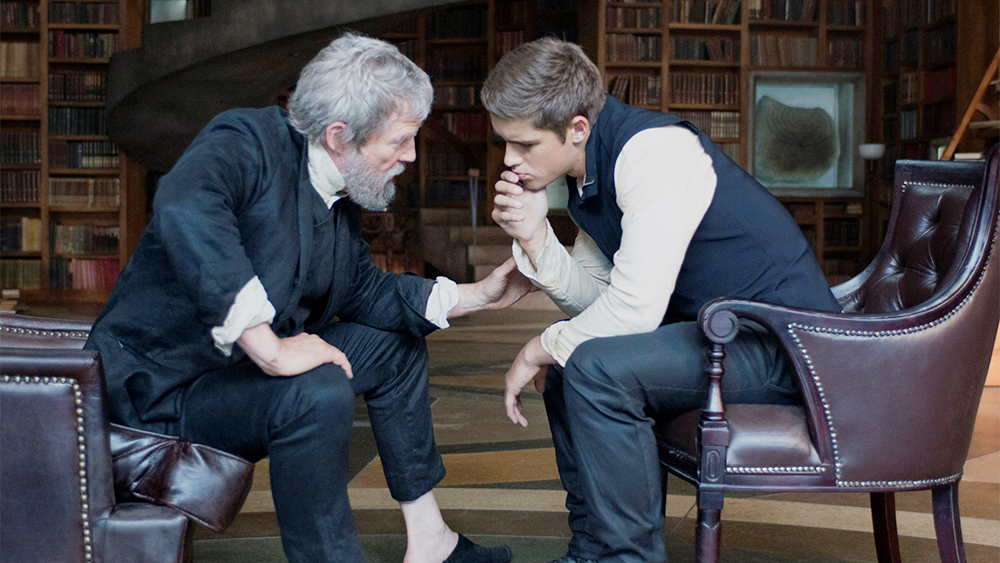 Jeff Bridges as 'The Giver', and Brenton Thwaites as 'Jonas'