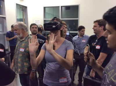 The Leap controller, paired with an Oculus Rift DK2,  is used to recognize gestures