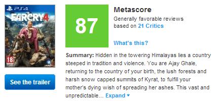 Far Cry 4 Metacritic