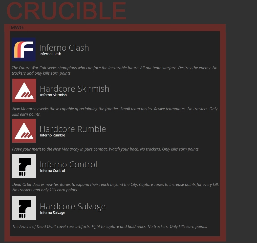 Destiny HoW Leak Crucible Gametypes