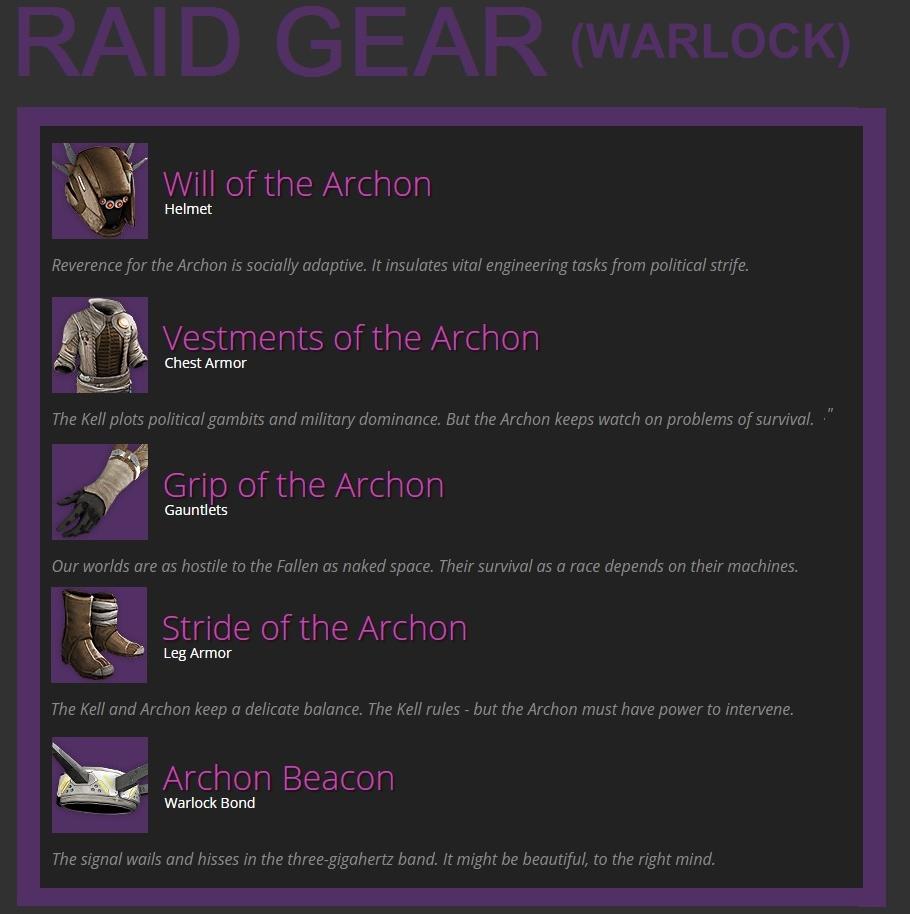 Destiny HoW Leak Raid Gear Warlock