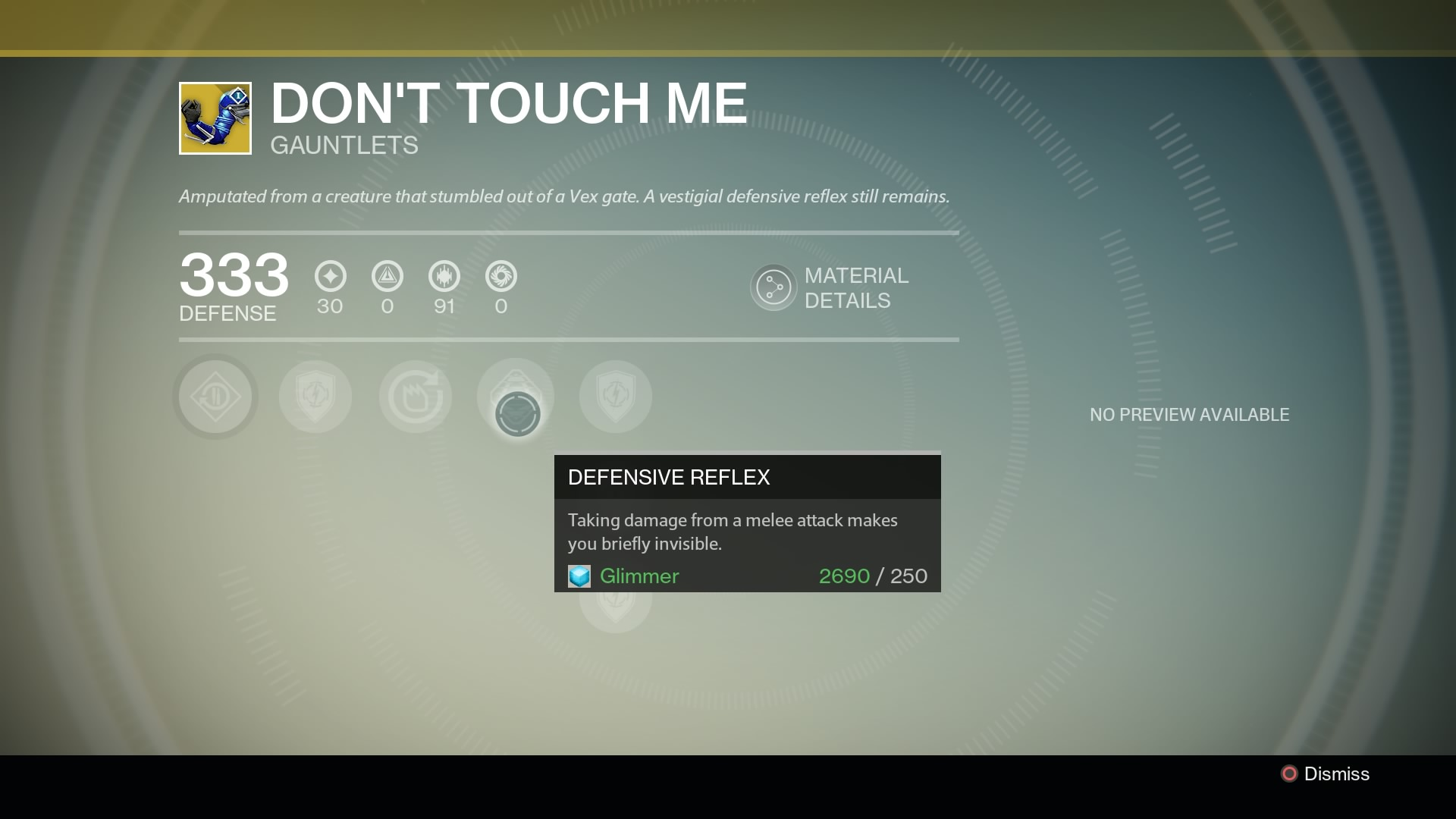 """""""Amputated from a creature who stumbled out of a Vex gate. A vestigial defensive reflex still remains."""""""