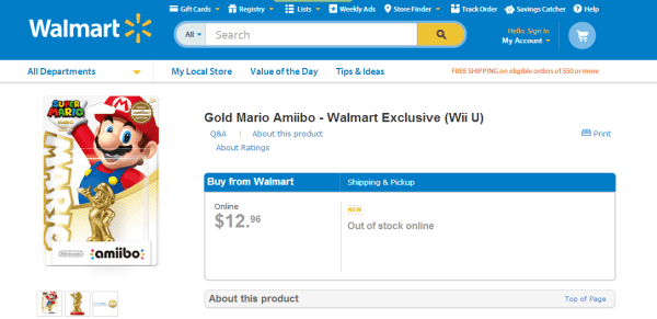 mario amiibo out of stock