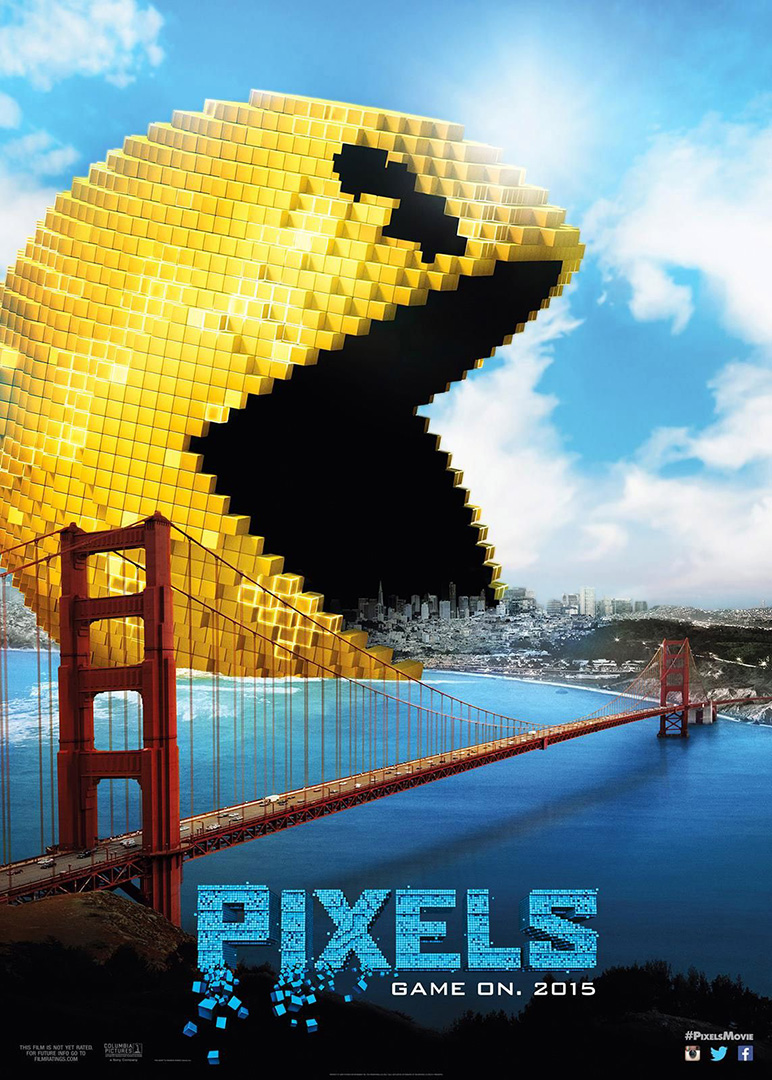 Pixels (2015) Movie Poster shows Pac-Man eating San Francisco